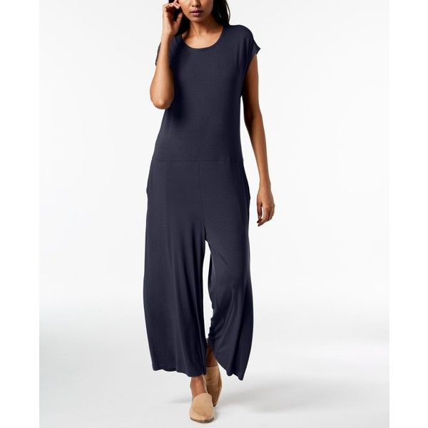 bcfc37c207d Eileen Fisher Stretch Jersey Cropped Wide-Leg Jumpsuit