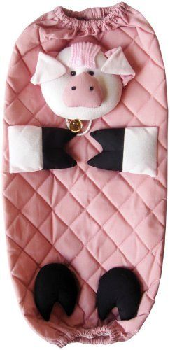 """Pig Grocery Bag Holder by The Hot Mitt King. $8.99. Elastic opening on top and bottom. Material: 100% Cotton. Loop on top for hanging.. See other Odyssey Intl. listing for different characters/styles. Dimensions: 14"""" X 6"""". Recycle and re use your plastic grocery bags without having them clutter your kitchen. This decorative bag dispenser stores and easily dispenses your grocery bags. Stuff the bags into the top and dispense them at the bottom"""
