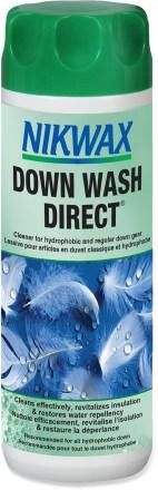 Nikwax Down Wash Direct - The easy to use, safe, high performance technical cleaner specifically designed for hydrophobic and regular down which cleans effectively, while restoring water repellency and maintaining fill power and insulation. Besides being hugely effective, Nikwax don't consider consider fluorocarbons (PFCs) to be safe for use in the home. They therefore exclude them from all their aftercare products.