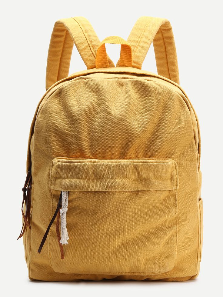 Shop Yellow Zipper Front Canvas Backpack online. SheIn offers Yellow Zipper Front Canvas Backpack & more to fit your fashionable needs.