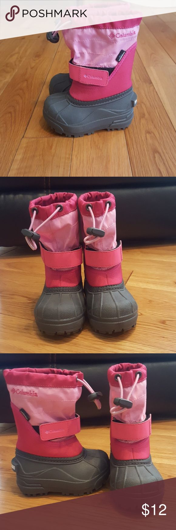 Toddler Columbia snow boots Pink adorable toddler snow boots. Only worn a few times. Thick lining water proof lining. Columbia Shoes