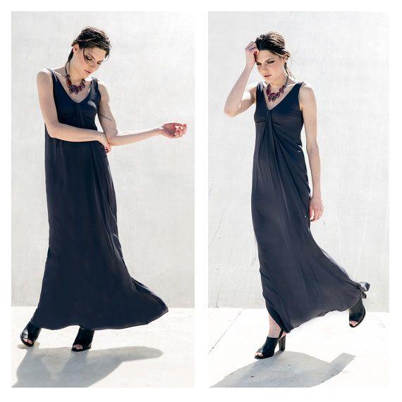 Grey Bridesmade Dress, Maxi Dress, Evening dress, sleeveless Dress, Angelina.