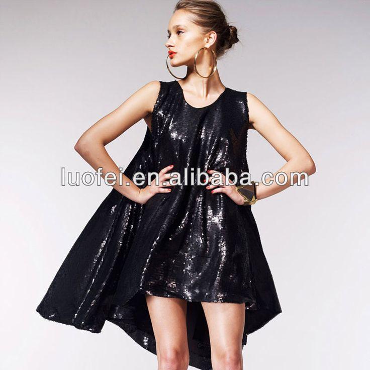 loose swing sleeveless club shiny sequins fashion women night out dress $20~$25