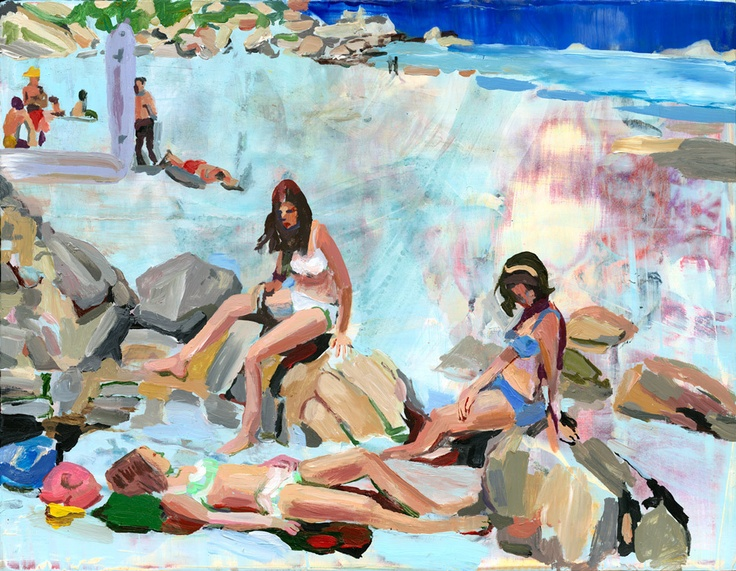 Women on Rocks, by Elizabeth Huey - reminds me of going to the beach with my…