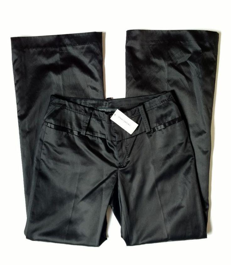 NWT Banana Republic Women's Ryan Fit Silk Blend Black Satin Career Dress Pants 2 #BananaRepublic #DressPants