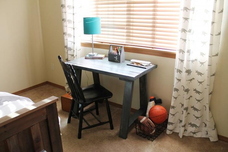 BeingBrook: Ana White DIY Desk {Dinosaur Boys Bedroom}