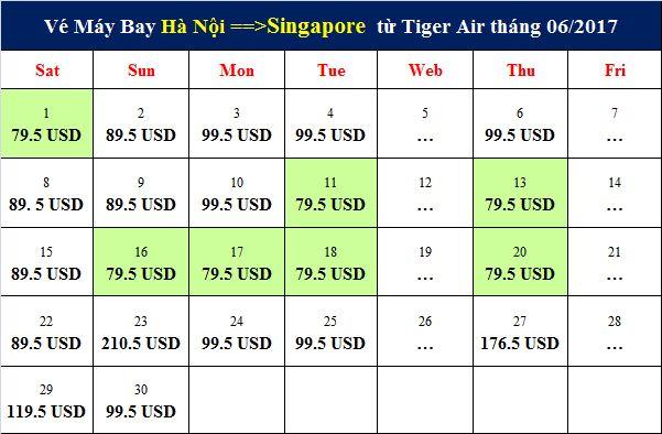 Vé máy bay chặng Hà Nội đi Singapore tháng 6 của Tiger Air