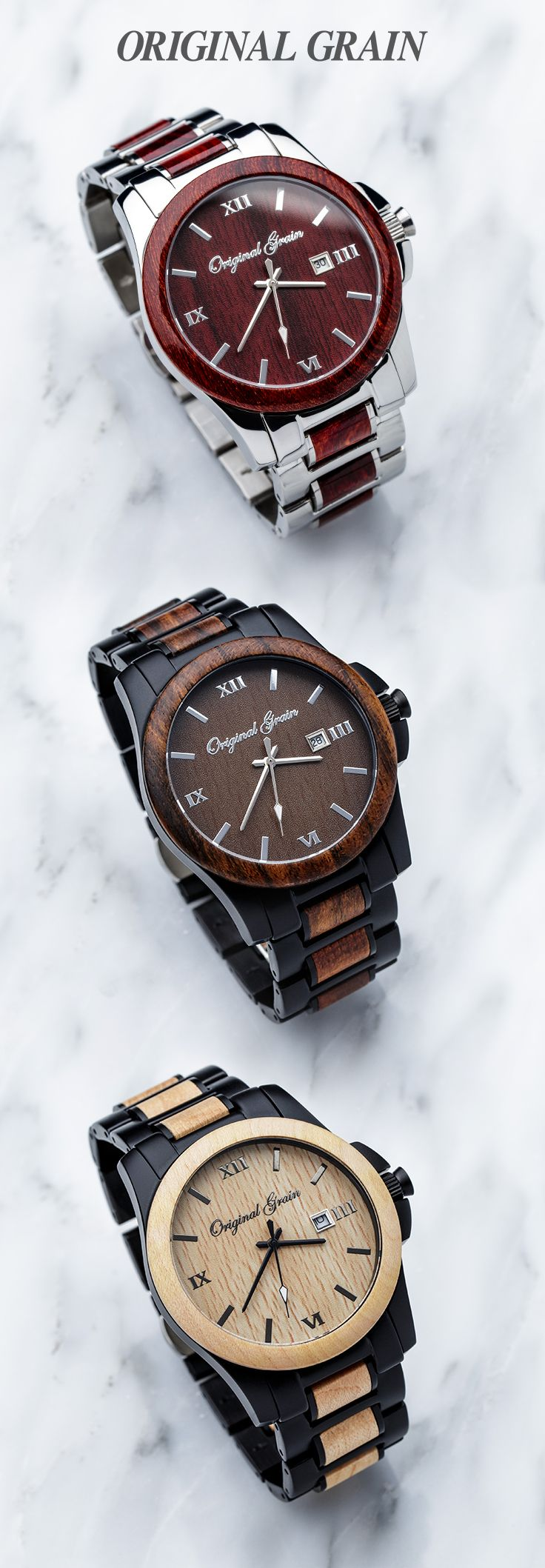 The perfect combination of style and class, this watch features polished stainless steel and radiant red rosewood. The anytime, anywhere, always ready - ORIGINAL OG. 10 Trees Planted for Every Watch S