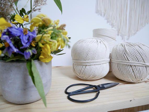 Bobine Corde Coton pour Macrame Torsadée ou tressée, 50m diamètre 3mm    Macrame Cotton rope diam 3mm, 50m