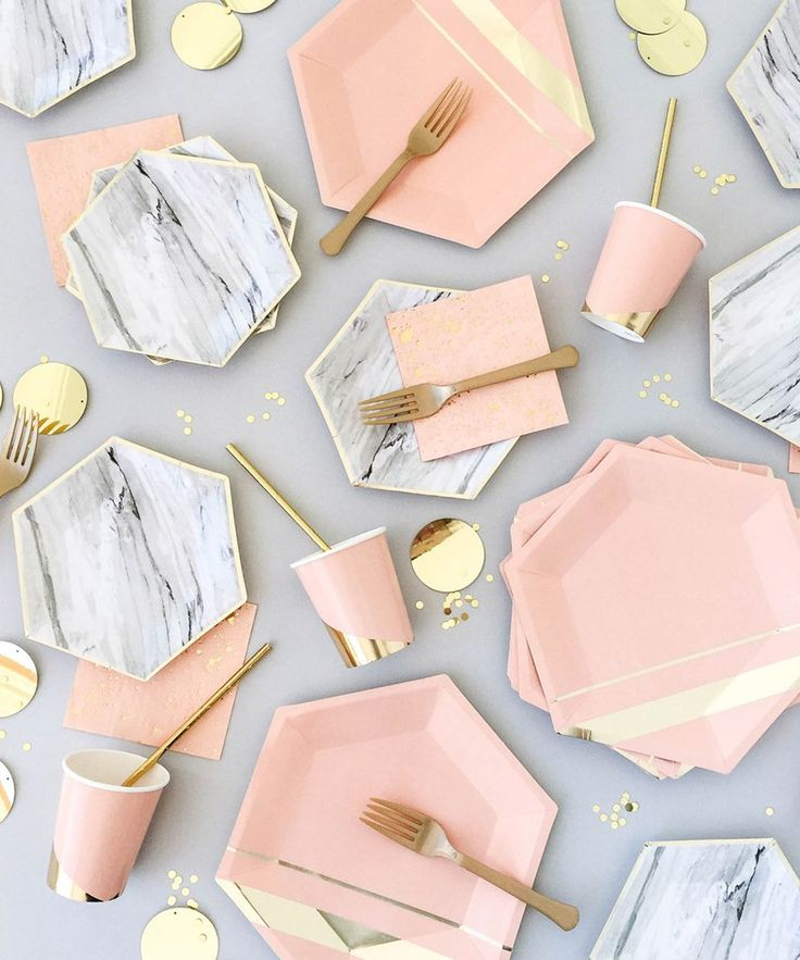 Pink, gold and marble plates and silverware for parties