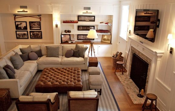 cozy living furniture. Family Room Layout/ OR Basement Giannetti Home: Comfy, Cozy Living Space With Modern Gray Linen Sectional Sofa, Tobacco Leather Ottoman Tv Above Furniture H