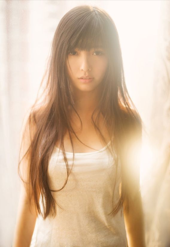 long hair with straight across bangs
