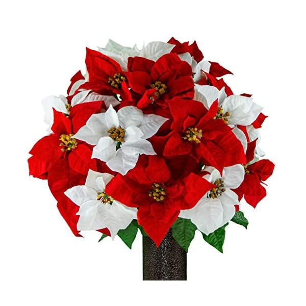 Sympathy Silks Artificial Cemetery Flowers Realistic Outdoor Grave Decorations Non Bleed Colors And Easy Fit Red White Poinsettia With Flower Holder Cemetery Flowers Memorial Flowers Flower Holder