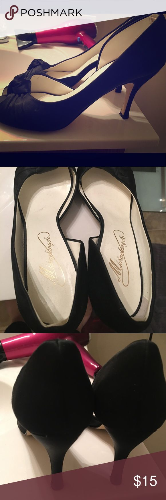 Elegant formal black satin pumps- Size 9.5 Purchased from Davids Bridal- worn only few times- dressy black shoe- size 9.5- smoke free home Shoes Heels
