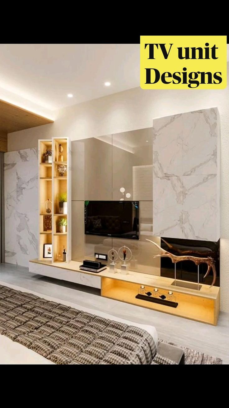 Modern Tv Room, Modern Tv Wall Units, Modern Luxury Bedroom, Luxurious Bedrooms, Tv Unit Interior Design, Tv Unit Furniture Design, Bedroom Furniture Design, Living Room Tv Unit Designs, Wall Unit Designs