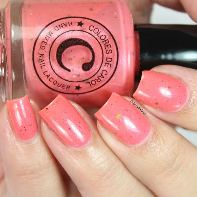 Colores de Carol - Ava - salmon pink multichrome shimmer with red/gold/orange flakes