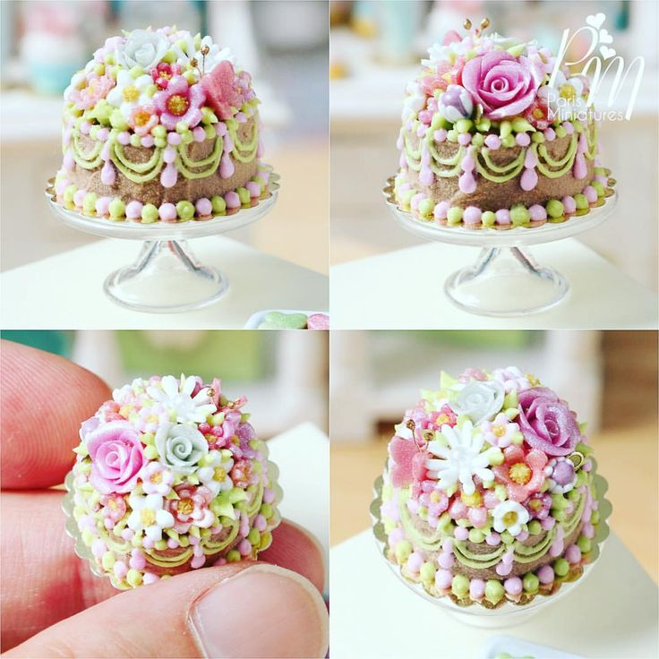 "++ ""Chocolate cake and flowers"" One of the beautiful new miniatures added to our Etsy store this week!"