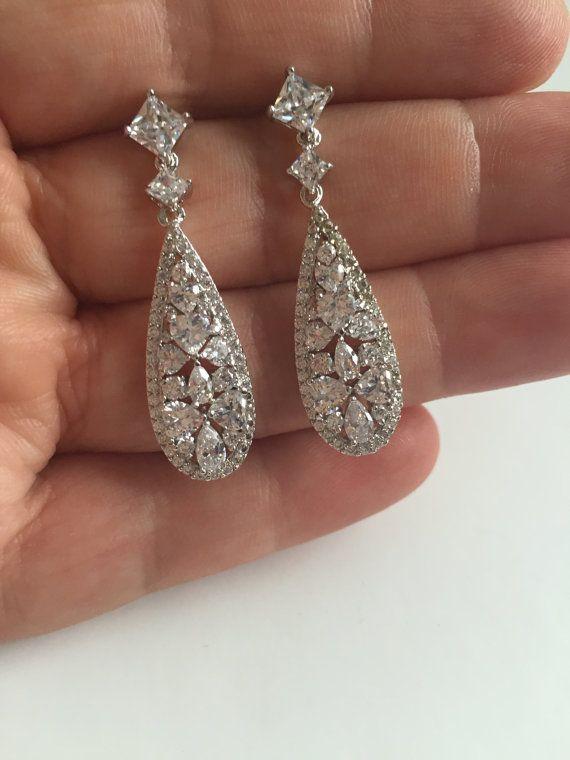 zirconia Teardrop clear Bridal earring wedding earring prom