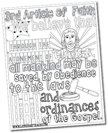 Free 3rd Article of Faith Coloring Page or $4.99 for all