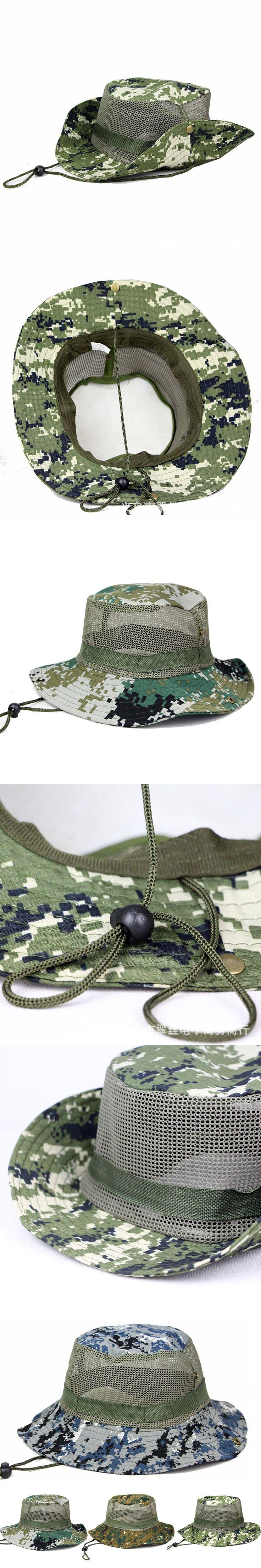Men Camouflage Jungle Wide Brim Hat Hunting Camping Fishing Mesh Bucket Cap  HATCS0523