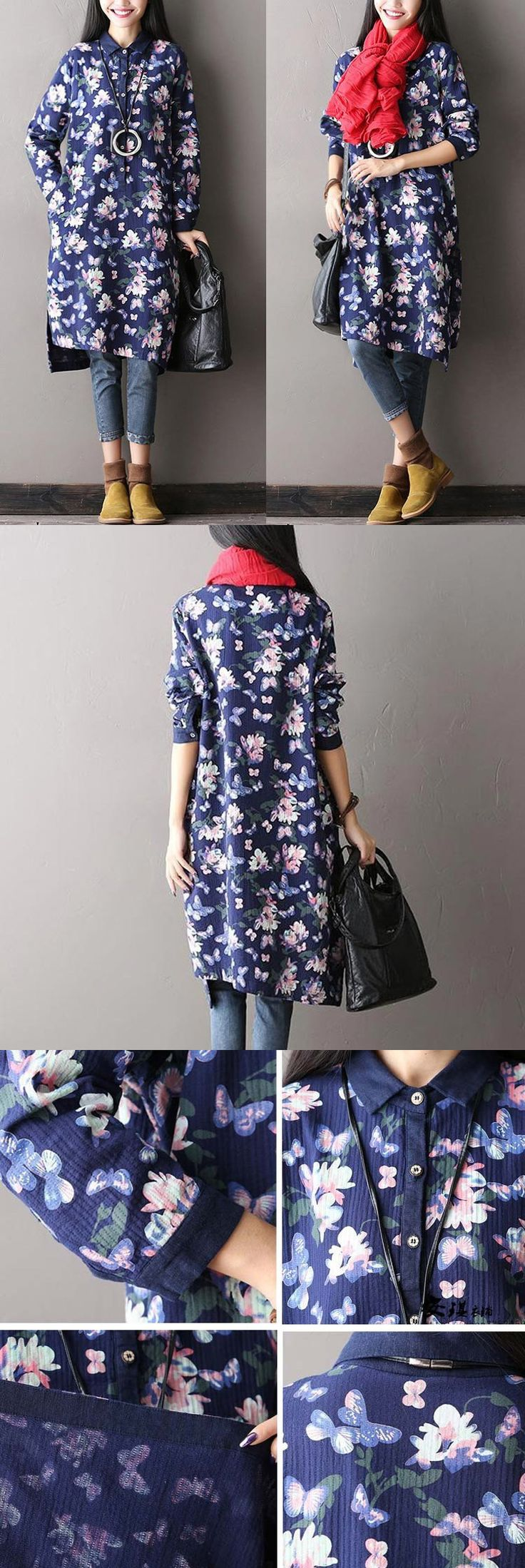 Big FLORAL pinted fittable dress for a Bohemian look.buykud dresses