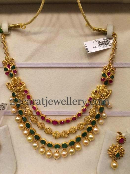 Jewellery Designs: Uncut Diamond Necklace 55gms