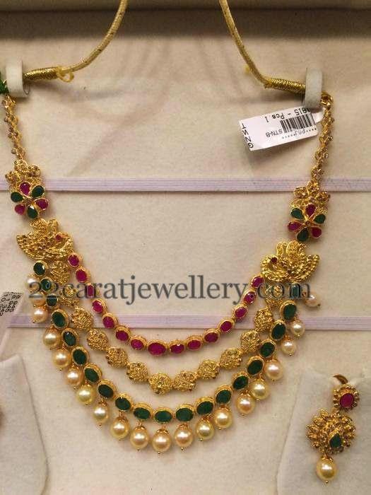 Jewellery Designs: Uncut Diamond Necklace 55gms