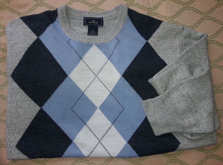 ARGYLE Long sleeve Golf Sweater Crew Neck Gray/Blue/Black Soft Acrylic Mens Med. #DOCKERS #Crewneck