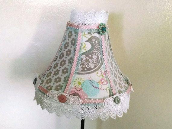 bird lampshade fabric lace lampshade nursery decor cottage