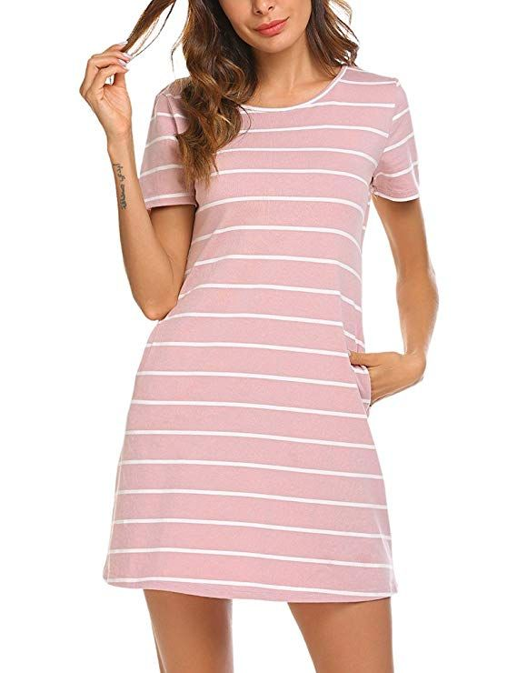 19109dcc79f Feager Women's Casual Striped Criss Cross Short Sleeve T Shirt Mini Dress  with Pockets at Amazon Women's Clothing store:
