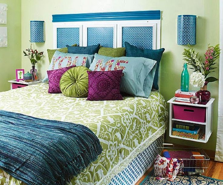 Blue, Green And Purple Bedroom.