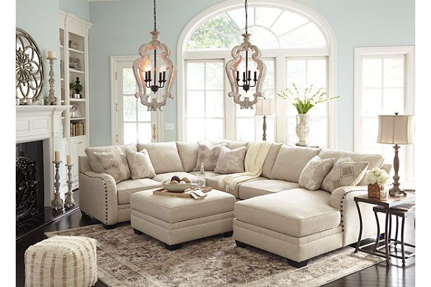 Living room sectional with ottoman - Luxora