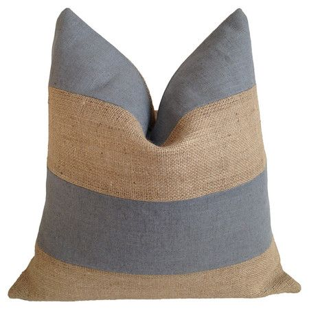 Eco-friendly and made in the USA, this chic burlap pillow features grey linen-cotton striping and a plush feather-down fill.  Produc...