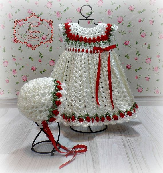 Baby Girl's Red and White Dress  by SweetSouthernBabies on Etsy