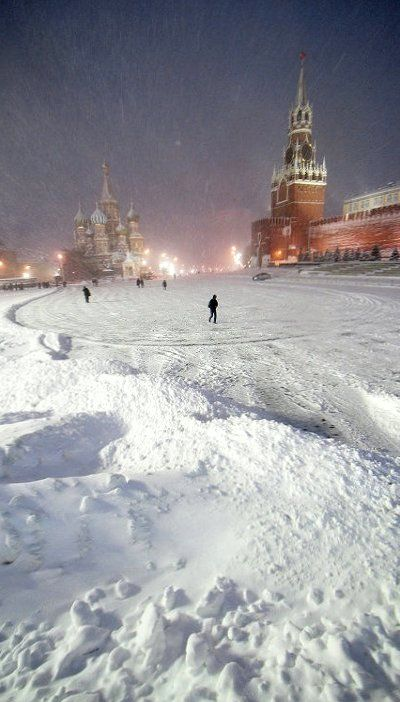 Heavy Snowfall Blankets Moscow, Russia