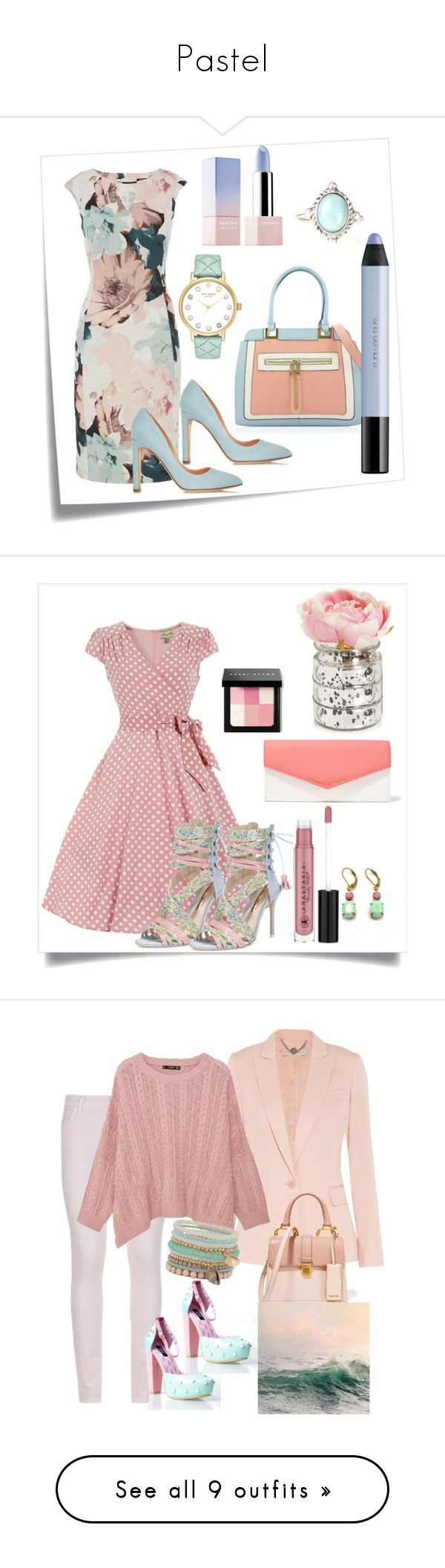 """""""Pastel"""" by capm ❤ liked on Polyvore featuring Post-It, Rupert Sanderson, Kate Spade, shu uemura, Sephora Collection, Sophia Webster, Fendi, Zara Taylor, Bobbi Brown Cosmetics and Anastasia Beverly Hills"""