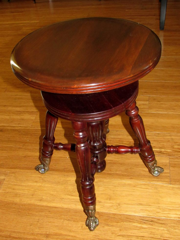 Pretty Vintage Victorian Style Adjusting Piano Stool With Cast Copper Brass  Claw Holding Glass Ball Feet