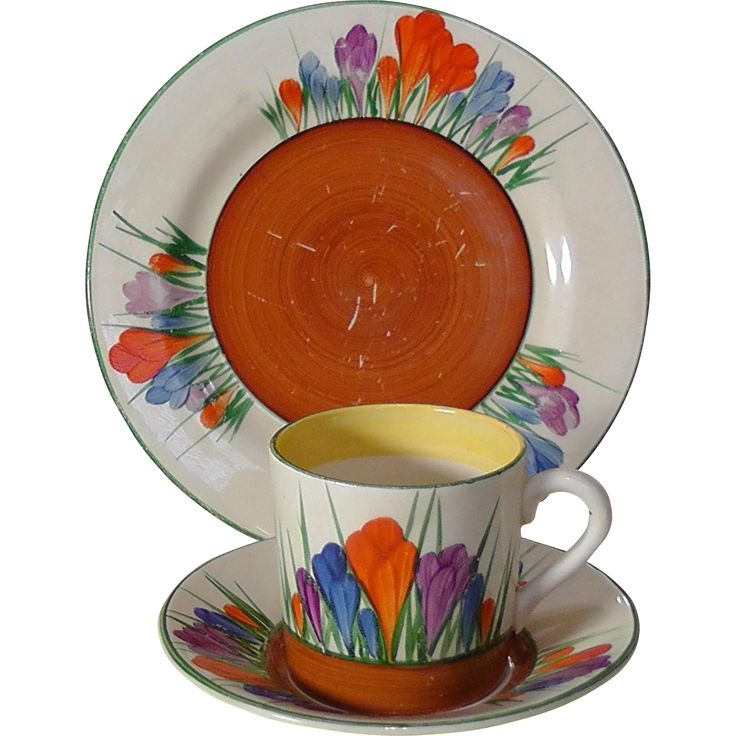 Clarice Cliff Coffee Can, Saucer and Side Plate in Crocus Design - Circa 1930
