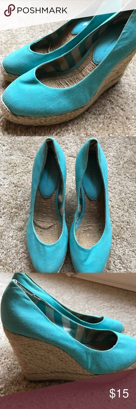 Teal BCBGeneration wedges Cute teal wedges good for spring and summer BCBGeneration Shoes Wedges