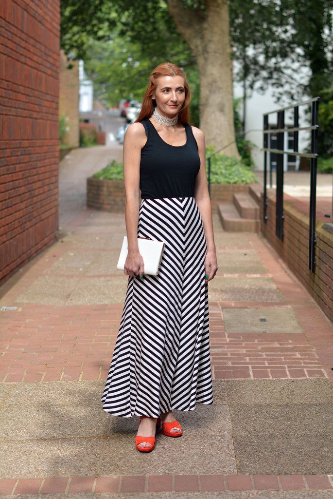 Birthday Dinner Outfit | Black and White Striped Maxi, Ruffled Collar, Orange Heels