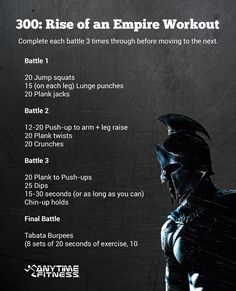300: Rise of an Empire Bodyweight Workout. Have you tried this? You'll get results!