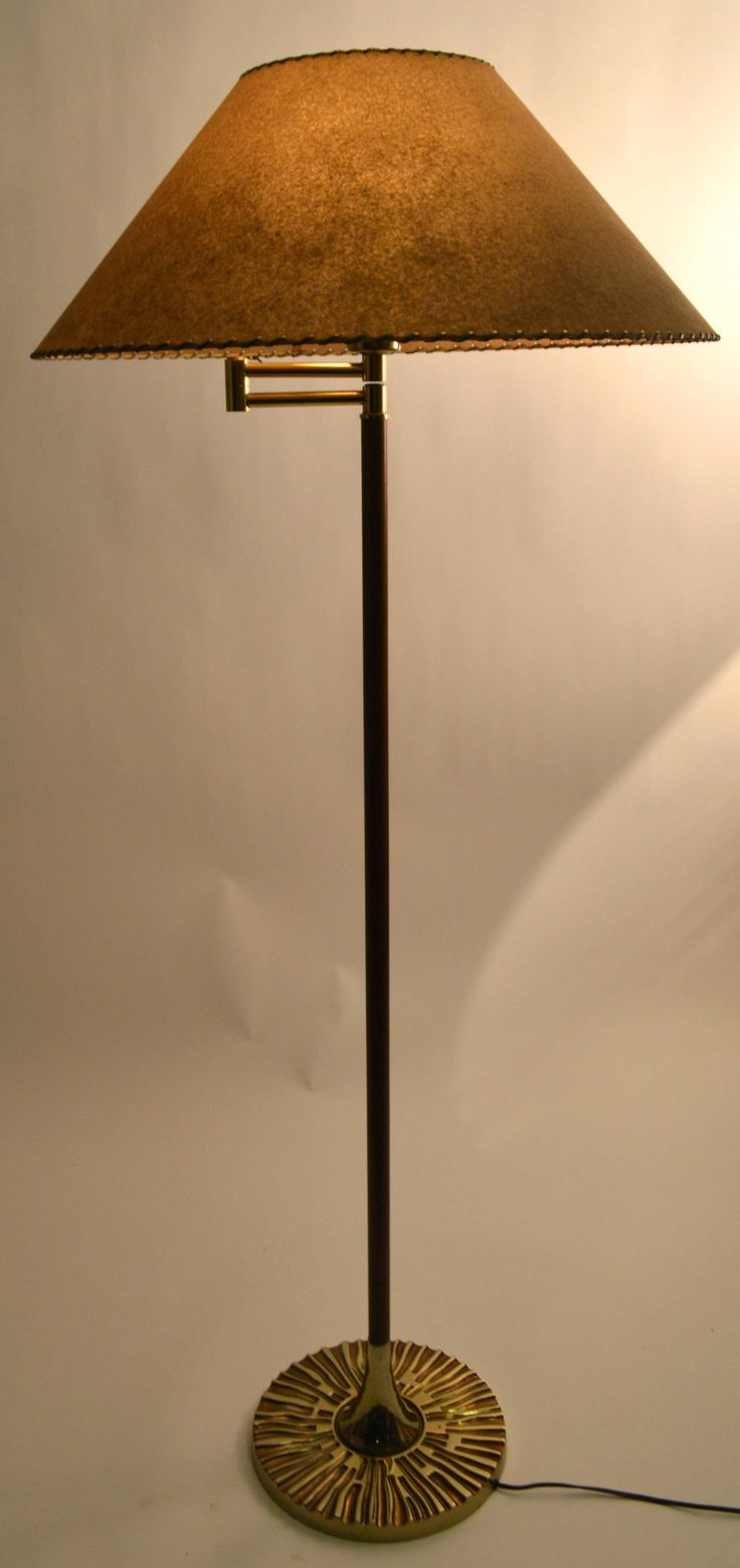 Midcentury swing arm floor lamp with brutalist base
