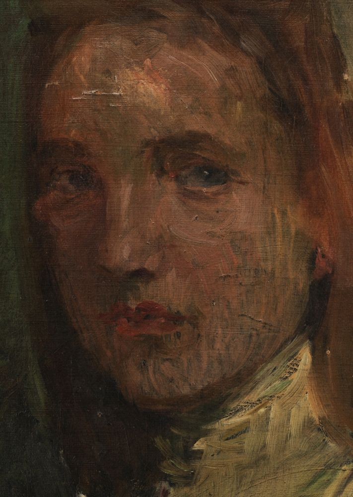 Detail of Jan Preisler's Portrait of a Young Girl, sold for $12,000 at Brunk Auctions