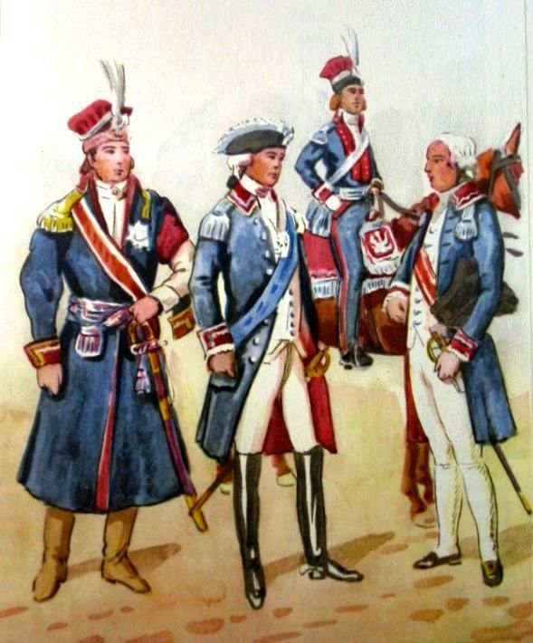 From left to right: Major General of the Grand Duchy of Lithuania in robe off-duty uniformed 1789. Major General 1785 royal army., 1789 Major General. Major General in 1789-1794, the everyday clothing. Fig. B. Gembarzewski.