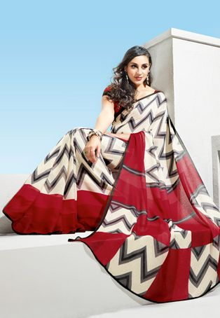 Off White Poly Cotton Jute Saree with Blouse