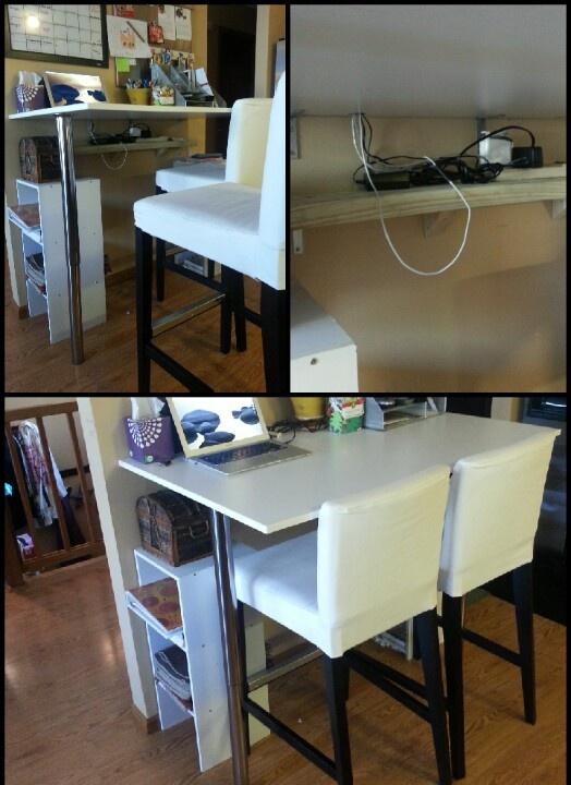 DIY Kitchen Bar Height breakfast bar. Cheap table and legs