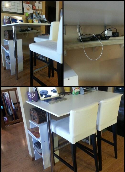 Diy kitchen bar height breakfast bar cheap table and legs from ikea attach table to studs - Kitchen bar table ideas ...