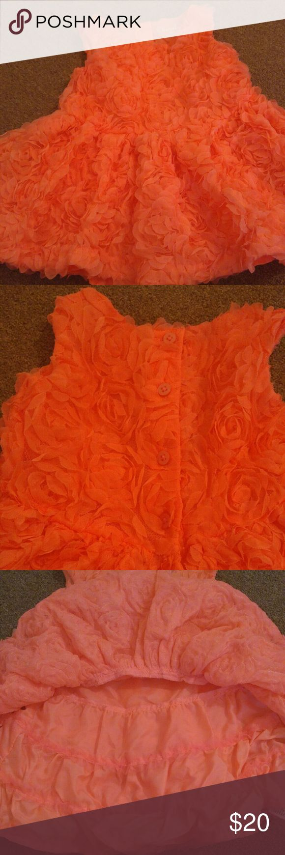 CHEROKEE BEAUTIFUL DRESS TONS OF ROSETTES THIS IS A CORAL COLOR DRESS ADORNED WITH ROSETTES FOR YOUR CUTIE PIE Cherokee Dresses Formal