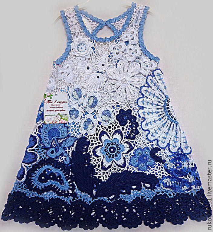 Купить Платье летнее из хлопка крючком Гжельские мотивы для девочки кружевное - белый, морской