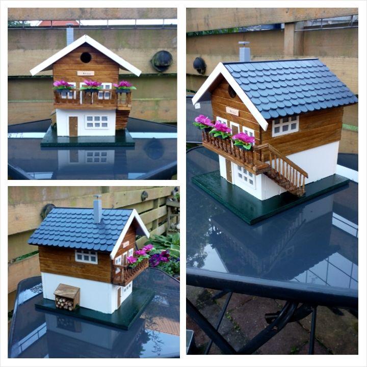 Birdhouse. Miniatuur zwitsers huis/chalet als vogelhuisje, gemaakt omdat ik een zwak voor Zwitserland.
